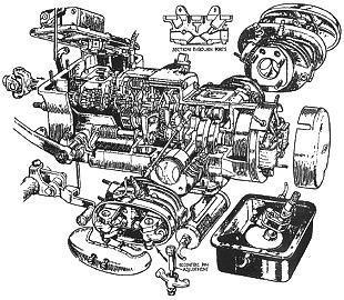 Schematic of Velocette Valiant motorcycle engine