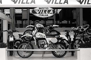 Moto Villa stand in the late Seventies with a 350cc Rommel to the fore and 125 MX behind