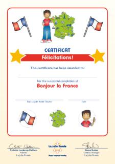 Bonjour la France (original) - Certificate