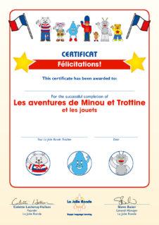Les Aventures Part 1 (jouets) Certificate