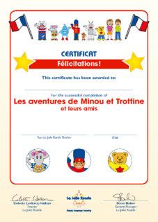 Les aventures de Minou et Trottine et leurs amis - Certificate