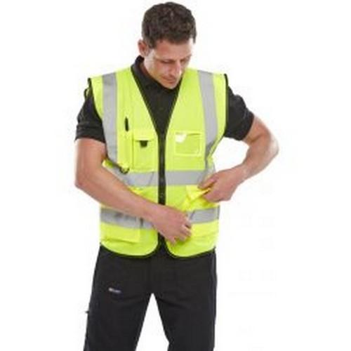 Yoko Hi-Vis Premium Executive/Manager Waistcoat / Jacket (S) (Navy Blue)
