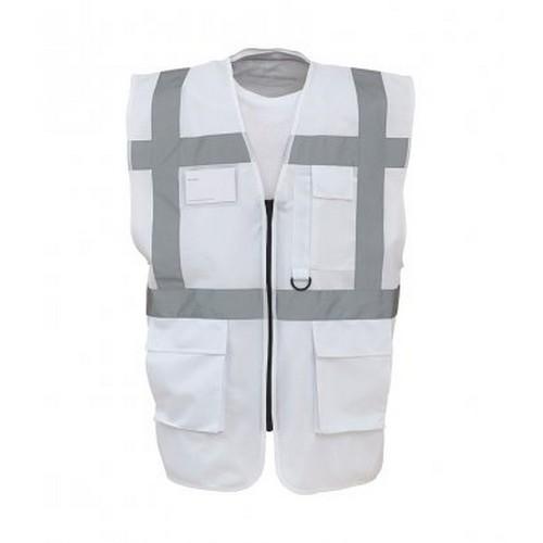 Yoko Hi-Vis Premium Executive/Manager Waistcoat / Jacket (M) (White)