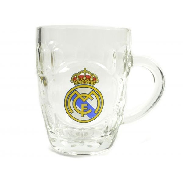 Real Madrid CF Official Dimple Tankard Pint Glass (One Size) (Clear)