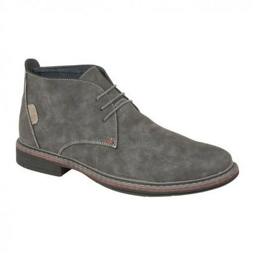 Goor Mens 3 Eye Synthetic Nubuck Desert Boots (6 UK) (Grey)