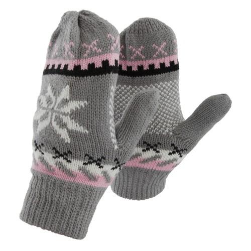 Womens /Ladies Fairisle Snowflake Design Fleece Lined Warm ...