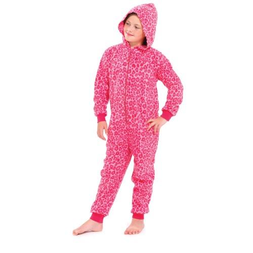 e548f23b4c Das Bild wird geladen Kinder-Maedchen-Fleece-Schlafanzug -Hausanzug-mit-Kapuze-Tierfell-