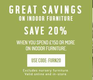20% Off Indoor Furniture Orders Over £150 at Argos