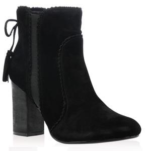 Melanie Ankle Boots in Black Faux Suede