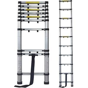 Terratek 2.9m Telescopic Aluminium Extendable Heavy Duty Lightweight Ladder