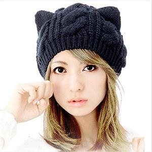 Women's Winter Knit Crochet Braided Cat Ears Beret Beanie Ski Knitted Hat Cap