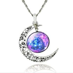 Crescent Moon Galaxy Universe Glass Cabochon Pendant Necklace Great Gifts