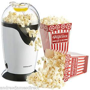 Andrew James Electric Hot Air Healthy Popcorn Popper Maker Machine In White