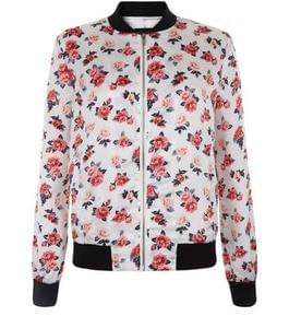 Teens White Rose Print Bomber Jacket