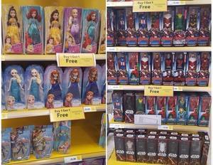 Princess Dolls & Marvel Action Figures - Buy 1, Get 1 FREE at Tesco