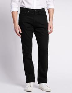 Mens Shorter Length Regular Fit StayNew™ Jeans  M&S