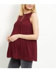 Maternity Burgundy Crochet Panel Sleeveless Top. Size 10. Few left!