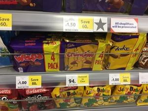 Reduced to clear 4x Crunchies, Wispas and Flakes in-store