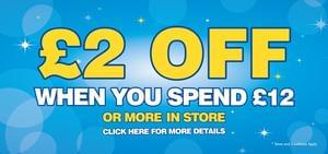 £2 off £12 spend until Fri 14 Oct