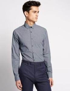 Super Discount on this Super Slim Fit Prince of Wales Checked Shirt @ M&S