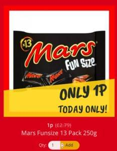 Multipack of fun size Mars Bars just 1p!