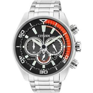 Discount Citizen Men's Eco Drive Orange and Black Chronograph Watch.@ Argos