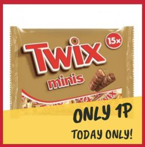Twix Minis 15 pack for just 1p