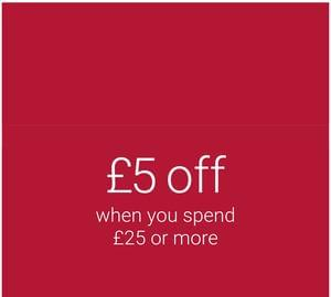 Spend £25 or more and get £5 off with code.