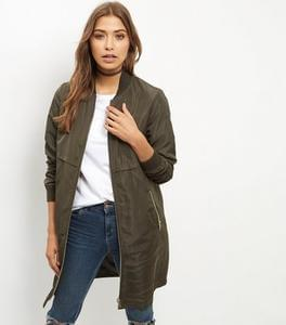 Cheap Women's Khaki Longline Bomber Jacket £16.99 Delivered