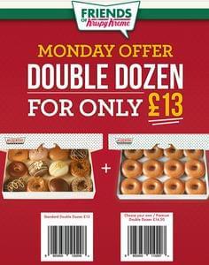 Monday DOUBLE DOZEN at Krispy Kreme for £13 starts tomorrow!!