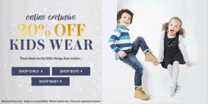 Online Exclusive 20% On Kids Wear @ Asda George