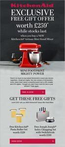 KitchenAid Artisan Mini Stand Mixer With Free Gifts Worth £259