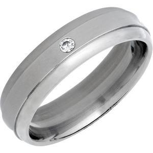 Titanium Cubic Zirconia Polished Band Ring