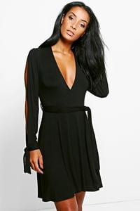 Asia open sleeve skater  dress