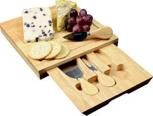 Occasion Square Cheese Board with Drawer and 3 Knives At £11.99