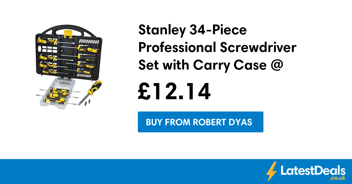 stanley 34 piece professional screwdriver set with carry case robert dyas at robert. Black Bedroom Furniture Sets. Home Design Ideas