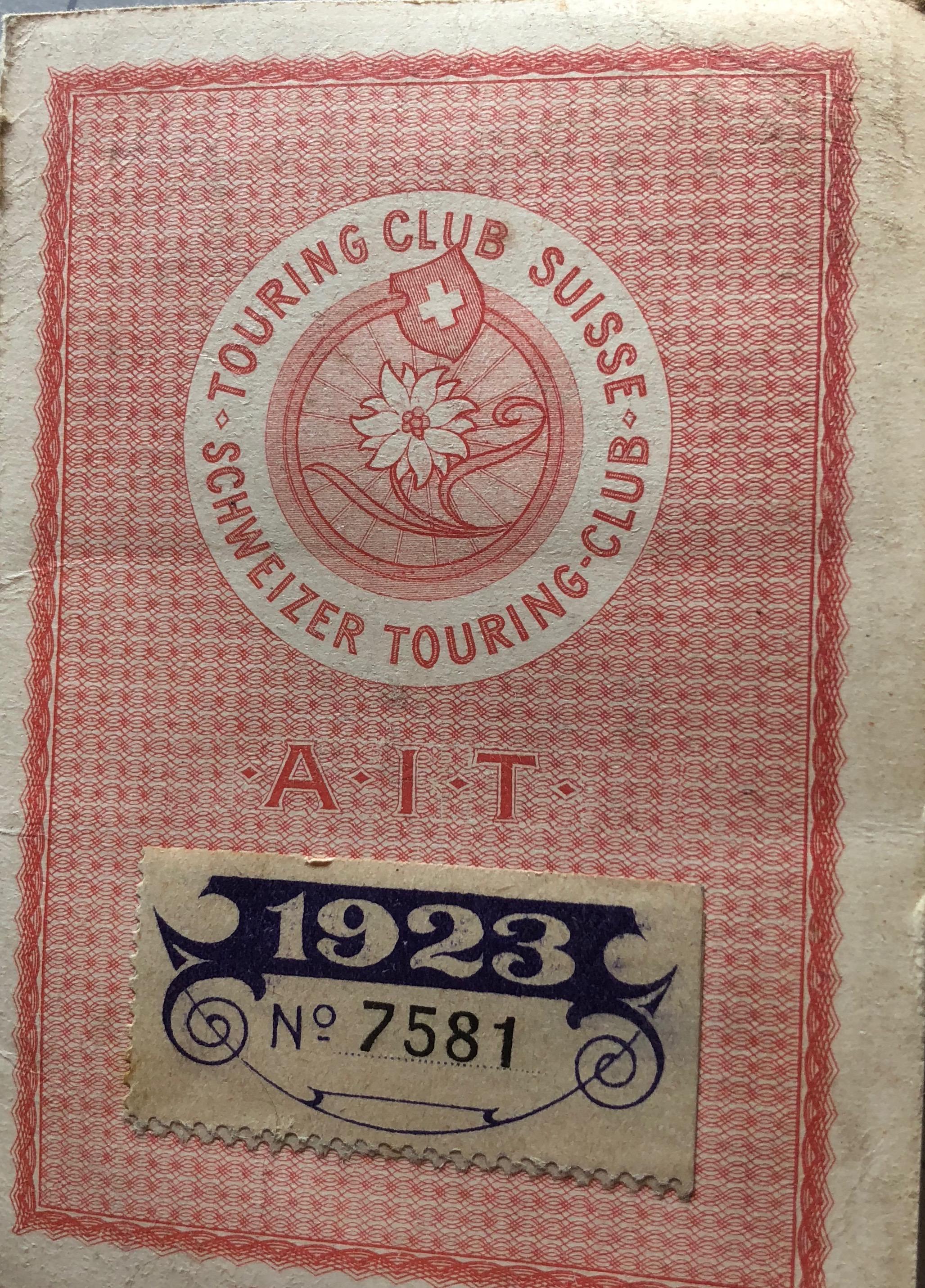 Tessera Touring Club Svizzero 1923