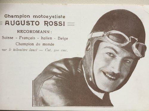 Cartolina Augusto Rossi motociclista luganese