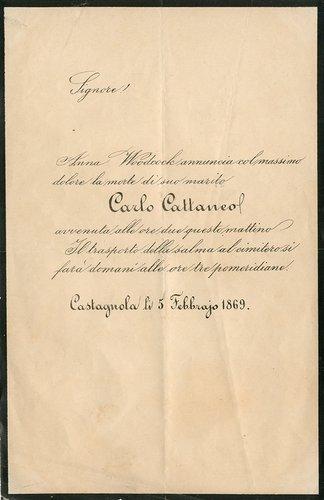 Necrologio a stampa per la morte di Carlo Cattaneo