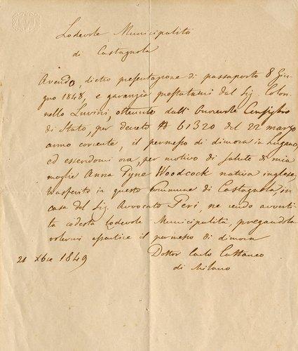 Lettera di Carlo Cattaneo alla Municipalità di Castagnola con cui chiede il permesso di dimora nel comune