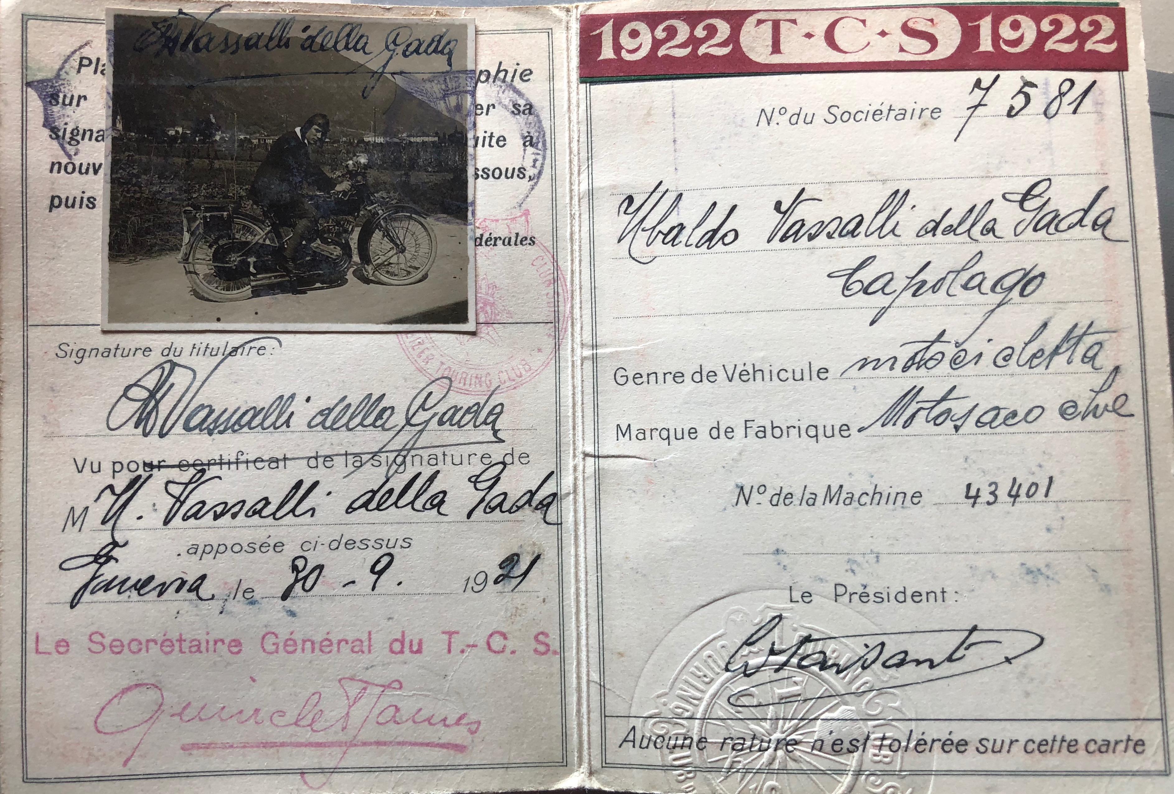 Tessera Touring Club Svizzero 1922