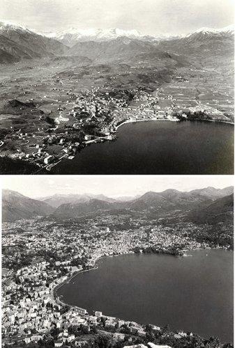 Lugano dal Salvatore in due epoche