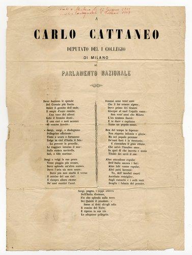 Poesia d'occasione dedicata a Carlo Cattaneo nel 1867