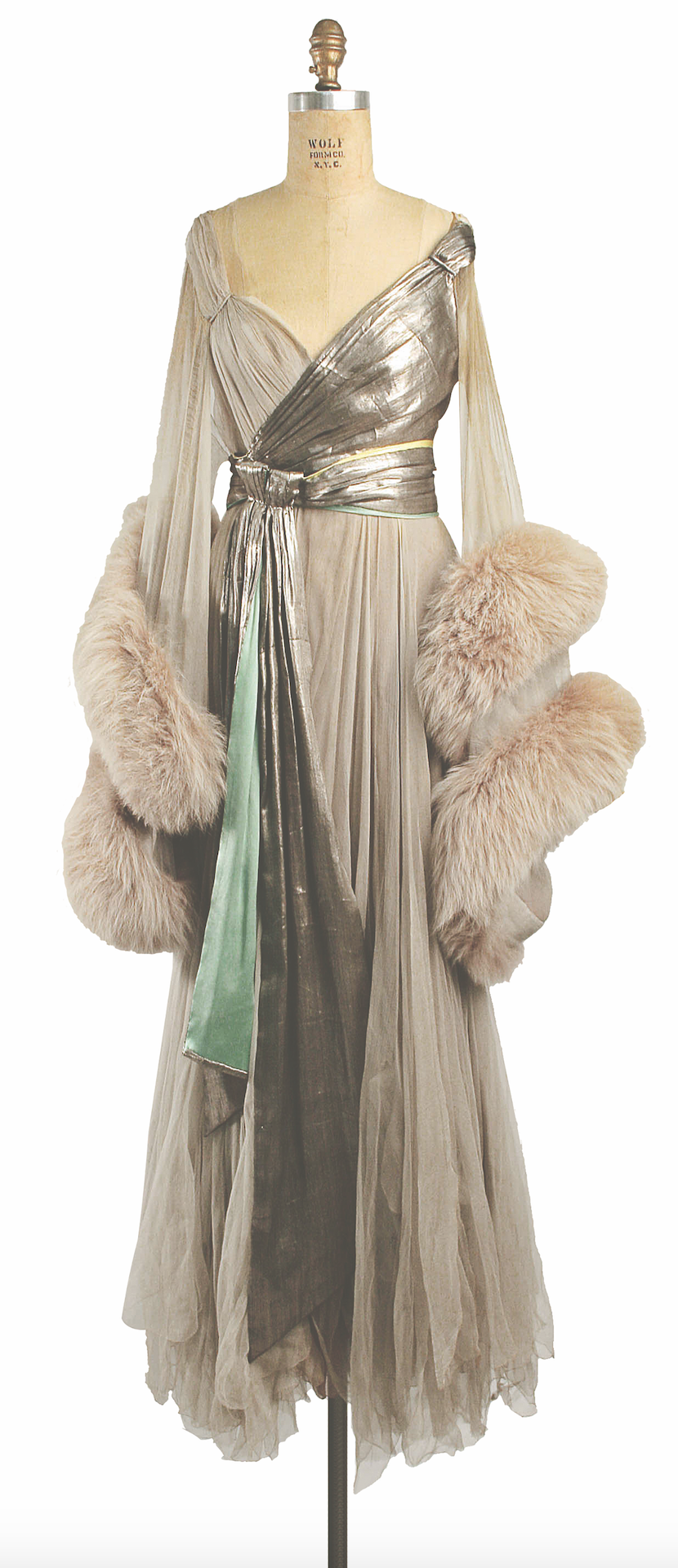Silk, fur and metallic thread evening dress, c. 1920, by Lucile. The Metropolitan Museum of Art, New York. Gift of Irene Castle (Mrs Gerorge Enzinger), 1947 (CI47.57.1)
