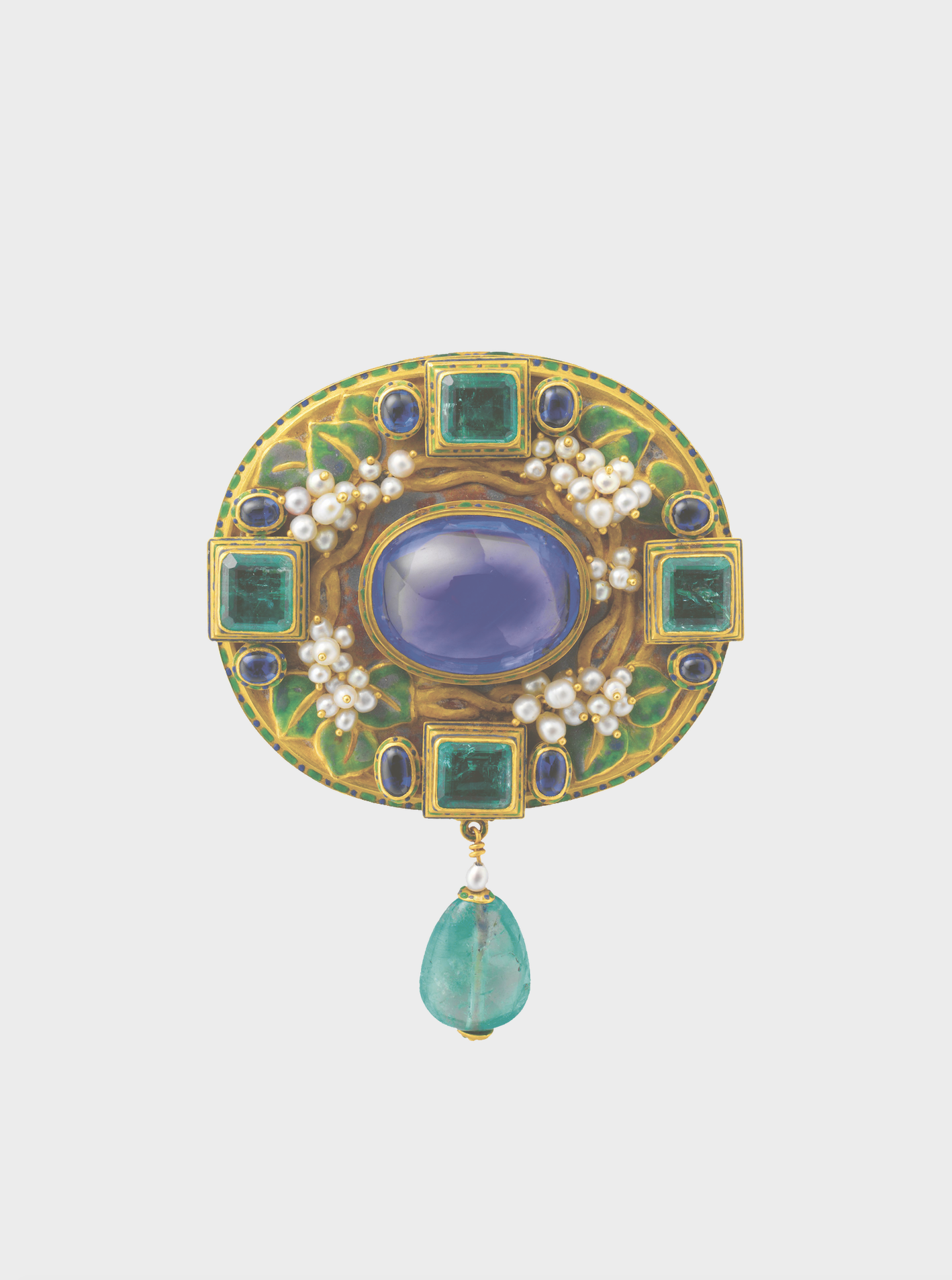 Emerald, sapphire and seed pearl enamelled gold brooch by Florence Koehler, c. 1905 The Metropolitan Museum of Art, New York