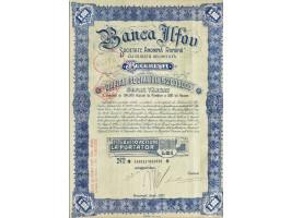 Titlu de 10 acțiuni la purtător, în valoare de 500 de lei fiecare, Banca Ilfov, 1937