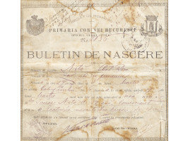 Buletin de naștere emis de Primăria București, 1899