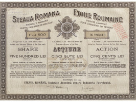 """Acțiune de 500 lei, la societatea """"Steaua Română"""" pentru industria petrolieră, 1923"""