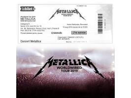 Două bilete la concertul Metallica, Arena Națională, București, 14 august 2019