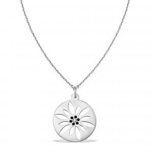 """""""Floare de colț"""", lănțișor din aur alb, 14k, lungime 45 cm, cu pandantiv din aur alb, cu decupaje interioare, diametru 1.5 cm, diamant negru de 1.5 mm, 0.01 ct, IONA Jewelry"""